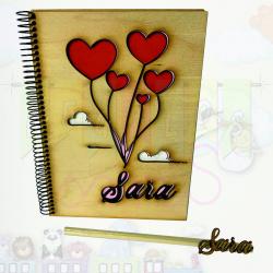 Cuadernos de madera personalizados estrellas